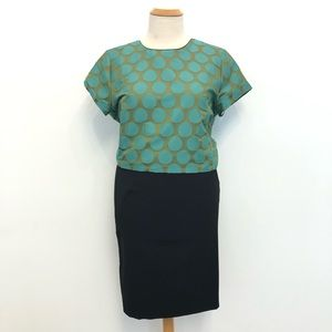 Boden Blouse Polka Dots Blue Green Short Sleeve 16